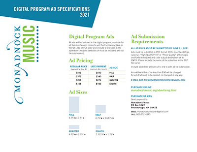 Monadnock Music Program Ad Specs